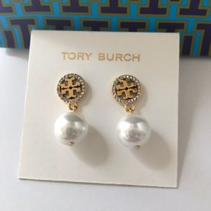 Tory Burch Jewelry - New Tory Burch crystal logo pearl earrings